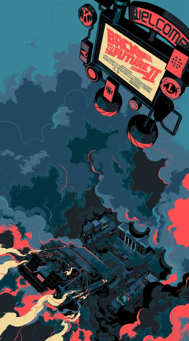 "「バック・トゥ・ザ・フューチャー PART2」バリアント Back to the Future Part II  Variant by Matt Taylor.  20""x36"" screen print. Hand numbered.  Edition of 175  Printed by D&L Screenprinting.  US$75"